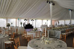 Frame tent with uplighting